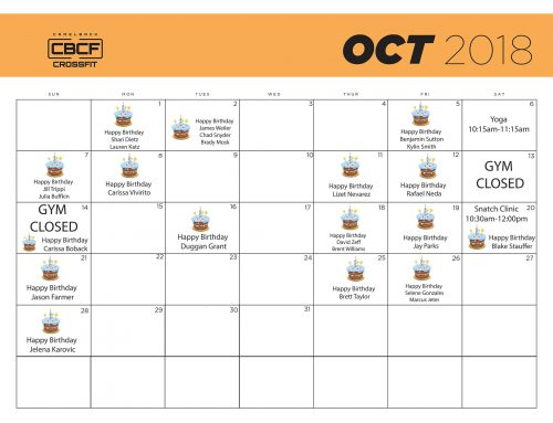 Calendar | October '18